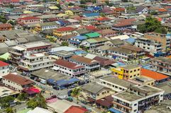 Aerial shot of a normal day in the Malaysian suburb Petaling Ja. Aerial shot of a normal routine day in the Malaysian suburb Petaling Jaya of Kuala Lumpur Stock Photo