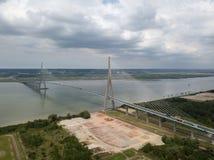 Aerial shot of Normandy bridge, France Royalty Free Stock Photo