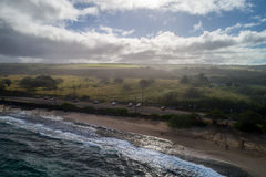 Aerial shot of Oahu Hawaii Royalty Free Stock Images