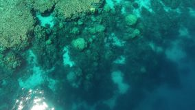 A beautiful drone shot of an ocean. An aerial shot of the ocean. The drone started low and reached its peak stock video footage