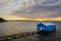 Free Aerial Shot Of The Crawley Boat House Or Crawley Edge Boatshed On The Swan River Near King`s Park Royalty Free Stock Image - 169721236