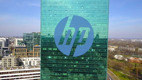 Aerial shot of office skyscraper with HP Inc. logo. Modern office building. Editorial 3D rendering Royalty Free Stock Photography