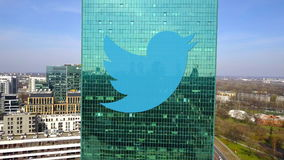 Aerial shot of office skyscraper with Twitter, Inc. logo. Modern office building. Editorial 3D rendering. Aerial shot of office skyscraper with Twitter, Inc stock photo
