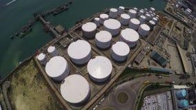 Aerial Shot of Oil Storage Tanks stock video footage