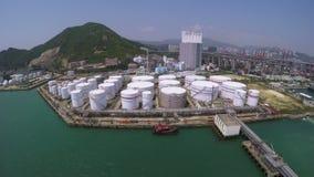Aerial Shot of Oil Storage Tanks stock video