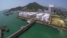 Aerial Shot of Oil Storage Tanks stock footage