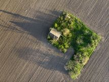 Aerial shot of Old Abandoned Ranch Stock Photo