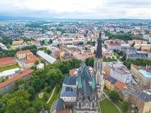 Aerial shot of Olomouc city in Moravia region. Of Czech Republic Stock Photo