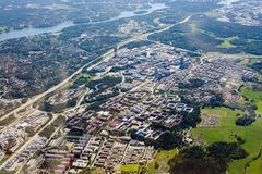 Aerial shot over IT center Kista Stockholm. STOCKHOLM, SWEDEN - JUNE 1, 2018: Aerial shot over IT center Kista Stockholm during inflight to Arlanda airport on a royalty free stock photography