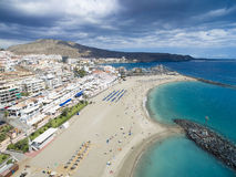 Aerial shot over Los Cristianos beach (Playa de las Am Stock Photos