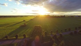 Aerial shot over lush green fields and meadows. Sunset. stock video footage