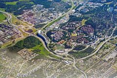 Aerial shot over Rissne Sundbyberg. STOCKHOLM, SWEDEN - JUNE 1, 2018: Aerial shot over Rissne Sundbyberg during inflight to Arlanda airport on a sunny day on royalty free stock photography