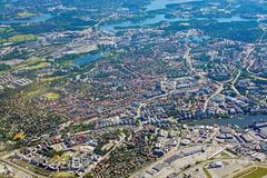 Aerial shot over Solna and Bromma airport below. STOCKHOLM, SWEDEN - JUNE 1, 2018: Aerial shot over Solna and Bromma airport below during inflight to Arlanda royalty free stock photos