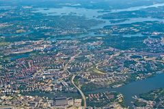 Aerial shot over Solna and Friend`s Arena. STOCKHOLM, SWEDEN - JUNE 1, 2018: Aerial shot over Solna and Friend`s Arena during inflight to Arlanda airport on a royalty free stock photo