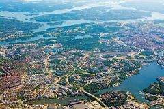 Aerial shot over Solna Lidingo Sweden. STOCKHOLM, SWEDEN - JUNE 1, 2018: Aerial shot over Solna Lidingo Sweden during inflight to Arlanda airport on a sunny day royalty free stock photography