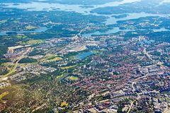 Aerial shot over Solna Sundbyberg Stockholm. STOCKHOLM, SWEDEN - JUNE 1, 2018: Aerial shot over Solna Sundbyberg Stockholm during inflight to Arlanda airport on royalty free stock images