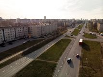 Aerial shot of parallel roads in the city during Golden Hour sunset stock photo