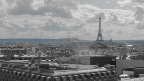 Aerial shot. Paris from above. concept of pollution ecology and environment. Smoke and Roofs of the capital of France in. Gray. In the distance you can see the stock video