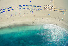Aerial shot of people spending their holidays o Stock Image