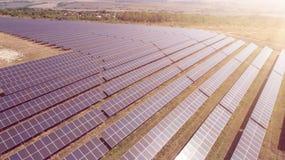 Aerial shot of photostatic solar farm. Solar farm power station from above. Ecological renewable energy. Stock Photography