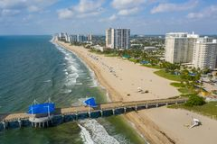 Aerial shot of Pompano Beach for post card. Drone photo stock photography