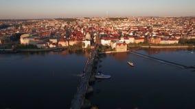 Aerial shot of Prague and Charles Bridge, Czech Republic stock video