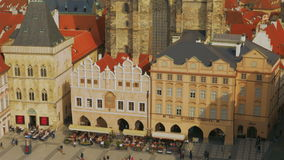 Aerial Shot of Prague Old Town Square on a Sunny Day. Aerial shot of Prague Old Town Square (Staromestske namesti) in Prague featuring a traditional market and stock video