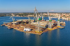 Pula panorama with old shipyard Stock Photography