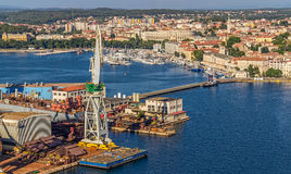 Pula panorama with old shipyard Royalty Free Stock Image