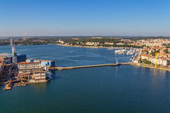 Pula panorama with old shipyard Stock Images
