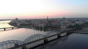 Aerial shot of Riga city - European capital in Latvia - Drone top view cinematic professional panning - Old town and. Aerial shot of Riga city - European capital stock footage
