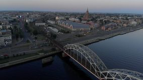 Aerial shot of Riga city - European capital in Latvia - Drone top view cinematic professional panning - Old town and. Aerial shot of Riga city - European capital stock video footage
