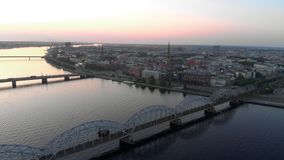 Aerial shot of Riga city - European capital in Latvia - Drone top view cinematic professional panning - Old town and. Aerial shot of Riga city - European capital stock video
