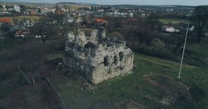 Aerial shot: Ruins of the ancient castle of the Knights Templar. Transcarpathia ruins XIII century According to one version castle erected representatives of the stock video footage