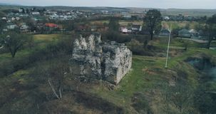Aerial shot: Ruins of the ancient castle of the Knights Templar. Transcarpathia ruins XIII century According to one version castle erected representatives of the stock footage