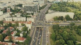 Rush hour traffic in Warsaw, Poland, aerial view Stock Photography