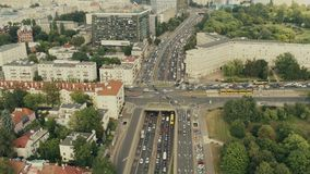 Rush hour traffic in Warsaw, Poland, aerial view stock video footage