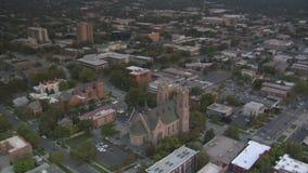 Aerial shot of salt lake city sunset and cathedral. Video of aerial shot of salt lake city sunset and cathedral stock video