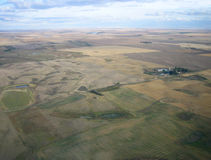 Aerial shot of Saskatchewan. Aerial shot of isolation between farms in Saskatchewan Stock Photography