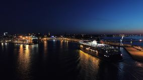 Aerial Shot of Scene with Ship Cruising to Port at Sea on the Night stock video footage