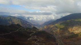 Aerial shot of scenery in Western Sichuan, Sichuan, China stock video footage