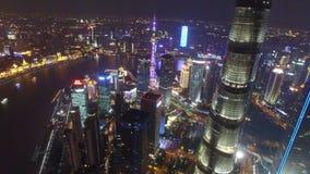 AERIAL shot of Shanghai Lujiazui City Night Scene,China stock video footage