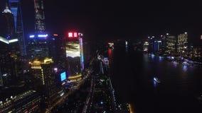 AERIAL shot of Shanghai Lujiazui City Night Scene,China stock video