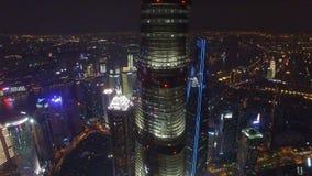 AERIAL shot of Shanghai Lujiazui City Night Scene,China stock footage