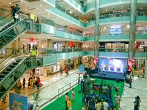 Aerial shot of shopping mall in gurgaon with kids activity and escalator. Gurgaon, India - circa 2019: aerial shot of shopping mall in gurgaon with kids activity stock images