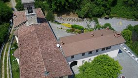 Aerial shot of the Shrine named Madonna dello Zuccarello stock footage