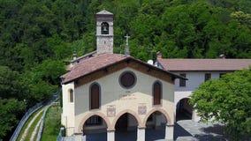Aerial shot of the Shrine named Madonna dello Zuccarello stock video