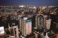 Aerial shot of the Siberian capital Novosibirsk city at sunset stock photo