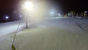 Aerial shot of ski slope the Bukovel resort at night stock video footage