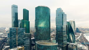 Aerial shot of skyscrapers of Moscow International Business Centre. stock footage